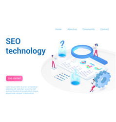 Seo technology landing page isometric vector