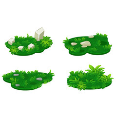 set isometric platforms island grass vector image