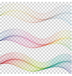 set of abstract colourful wave isolated on white vector image