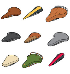 Set of bicycle saddle vector