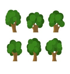 Set of Different Green Trees Icons vector image