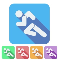 Set of Flat icon with Running people simple symbol vector image