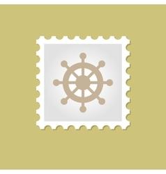 Ship steering wheel stamp vector