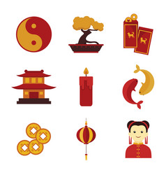 simple cute chinese custom culture graphic set vector image