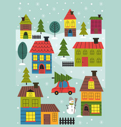 small town in winter time vector image