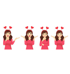 surprised girl in hearts headband vector image