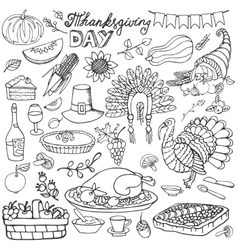 Thanksgiving day doodle iconsLinear set vector