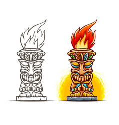 tiki totem cartoon statue vector image