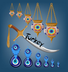 turkish touristic card with ceramic lamps sword vector image
