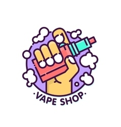 Vape shop cloudy logo template in graphic vector