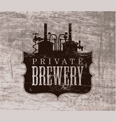 Vintage banner with a private brewery logo vector