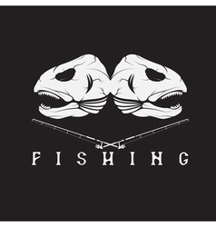 Vintage fishing emblem with skulls of trout vector