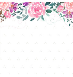 Watercolor rose flower decorative background vector