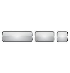 white glass buttons with chrome frame 3d square vector image