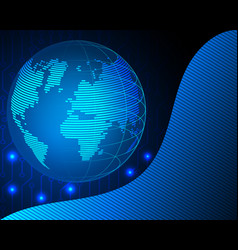 Wireframe world global internet network with big vector