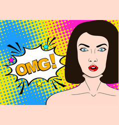 wow pop art female face sexy surprised young vector image