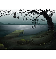 A wooden boat under the tree vector image vector image