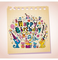 Happy birthday cute kittens note paper cartoon vector