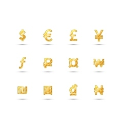Main currency signs icons made of shiny gold vector image
