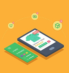 Mobile shopping with responsive eshop website appl vector