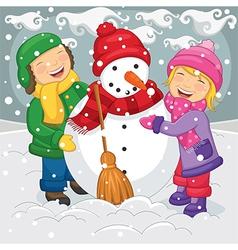 Of Kids Making Snowman vector image vector image