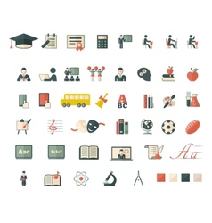 Set of school and education flat icons vector image