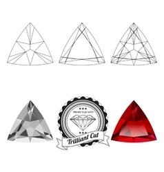 Set of trilliant cut jewel views vector image vector image