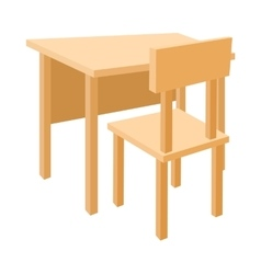Wooden school desk and chair icon cartoon style vector image
