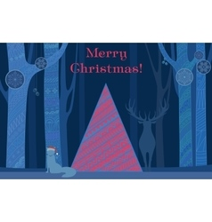Christmas tree Merry and Happy New Year card with vector image