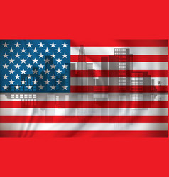 flag of usa with los angeles skyline vector image vector image