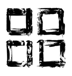 four frames from abstract textured brush strokes vector image