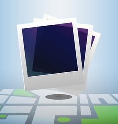 Polaroid icon on block street map vector image vector image