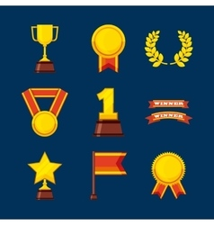 Set awards championship icons vector