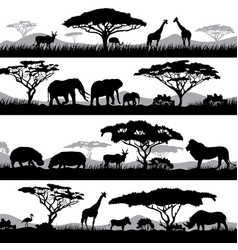 wild african life background silhouettes of vector image