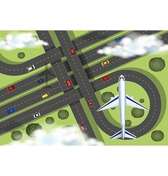 Aerial view with airplane flying in the sky vector image vector image