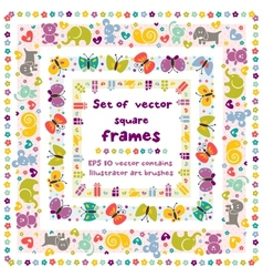 Cute frames with baby icons vector image