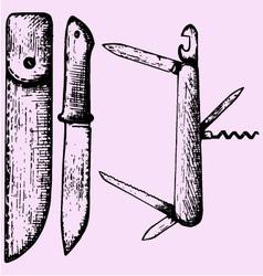 Multipurpose swiss folding knife vector