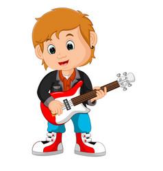 rock star guitar player vector image