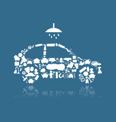 Car washing icons sketch for your design vector