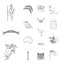 country australia outline icons in set collection vector image vector image
