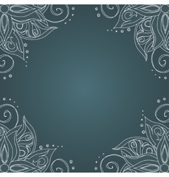 Ornamental frame against dark green background vector image