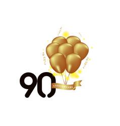 90 year anniversary black gold balloon template vector