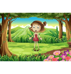 A shocked young girl in the middle of the forest vector image