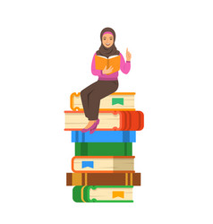 arab woman teacher shares knowledge with students vector image