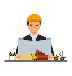 Architect man with blueprint construction vector