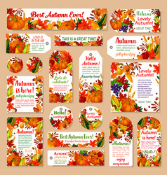 Autumn leaf tag and fall harvest greeting card set vector