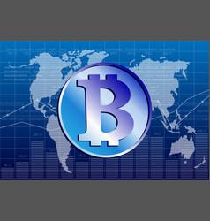 bitcoin and world map vector image