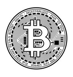 Bitcoin coin black silhouette vector