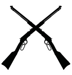 black silhouettes two od american rifles vector image