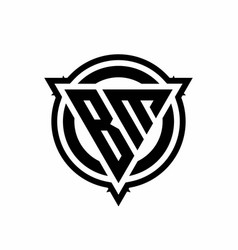 Bm logo with triangle shape and circle vector